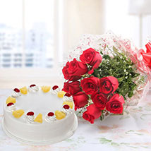 Combo of Red Roses And Pine apple cake