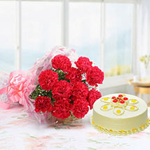 Pink Carnations with Butter scotch Cake