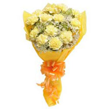 12 Yellow carnations Bunch