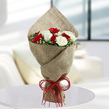 Bunch Of White and red roses