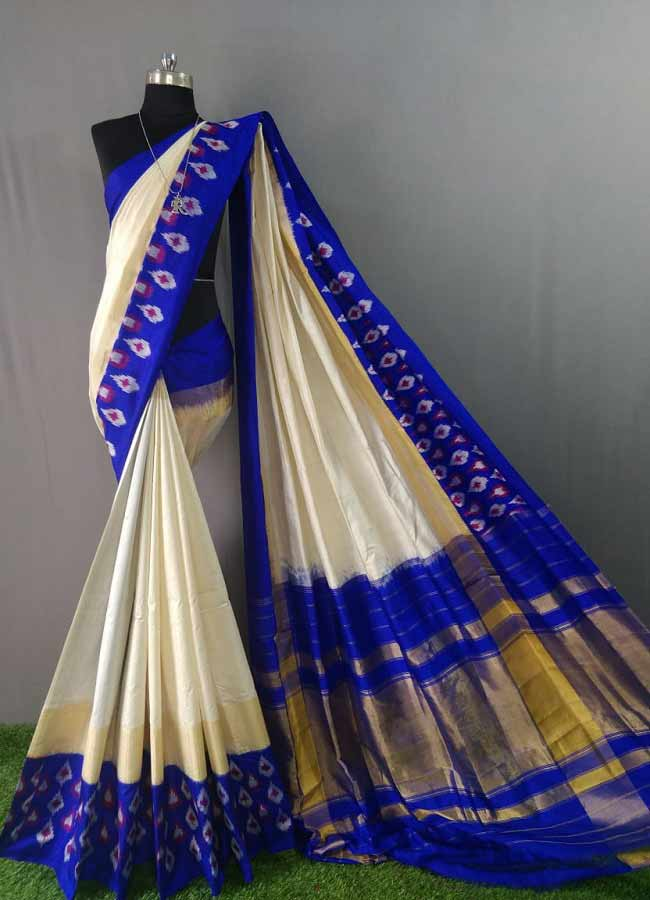 Pochampally Ikkat Cream And Blue Color Saree