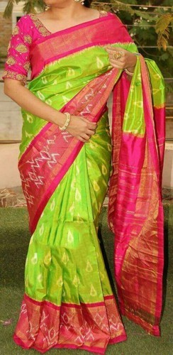 Pochampally ikkat parrot green and red saree