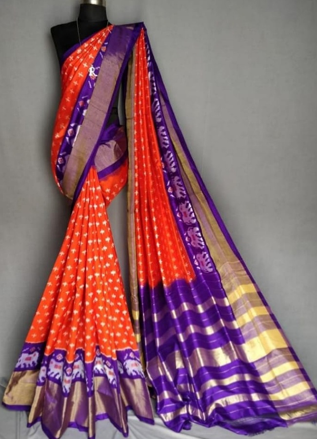 Pochampally Ikkat Orange with Lavendor Color Saree