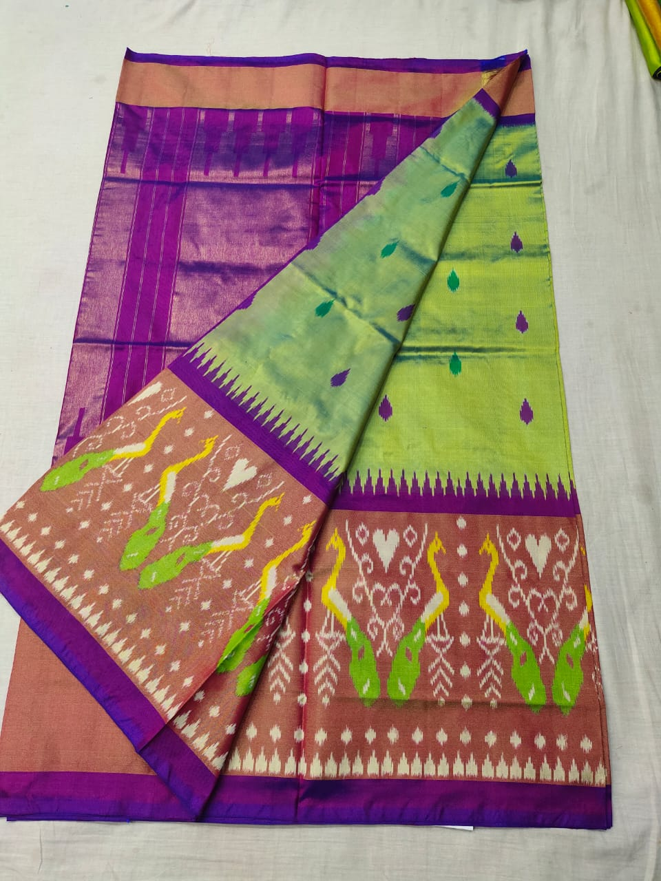 Pochampally light green and violet ikkat silk sarees