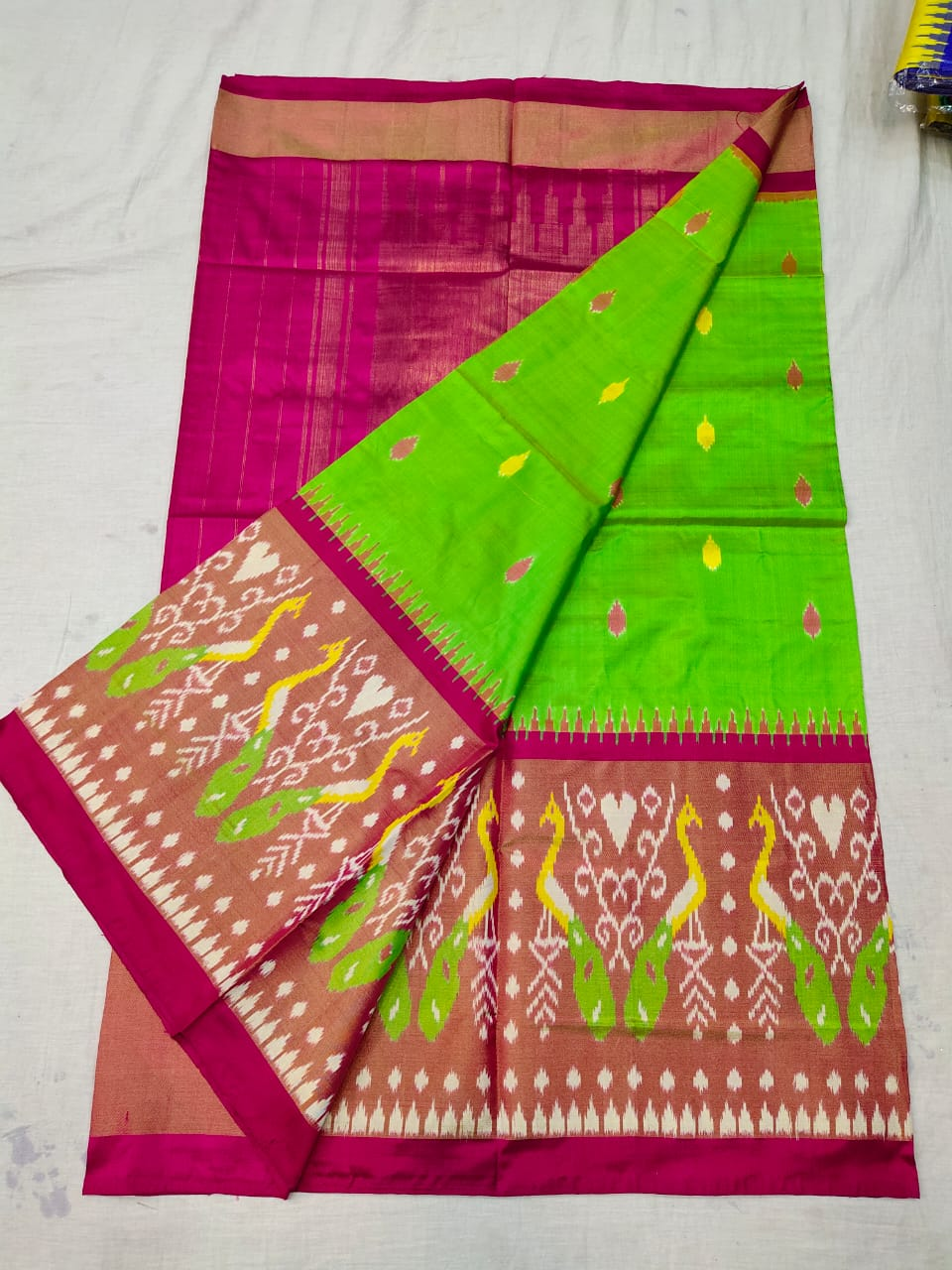 Pochampally parrot green and red ikkat silk sarees