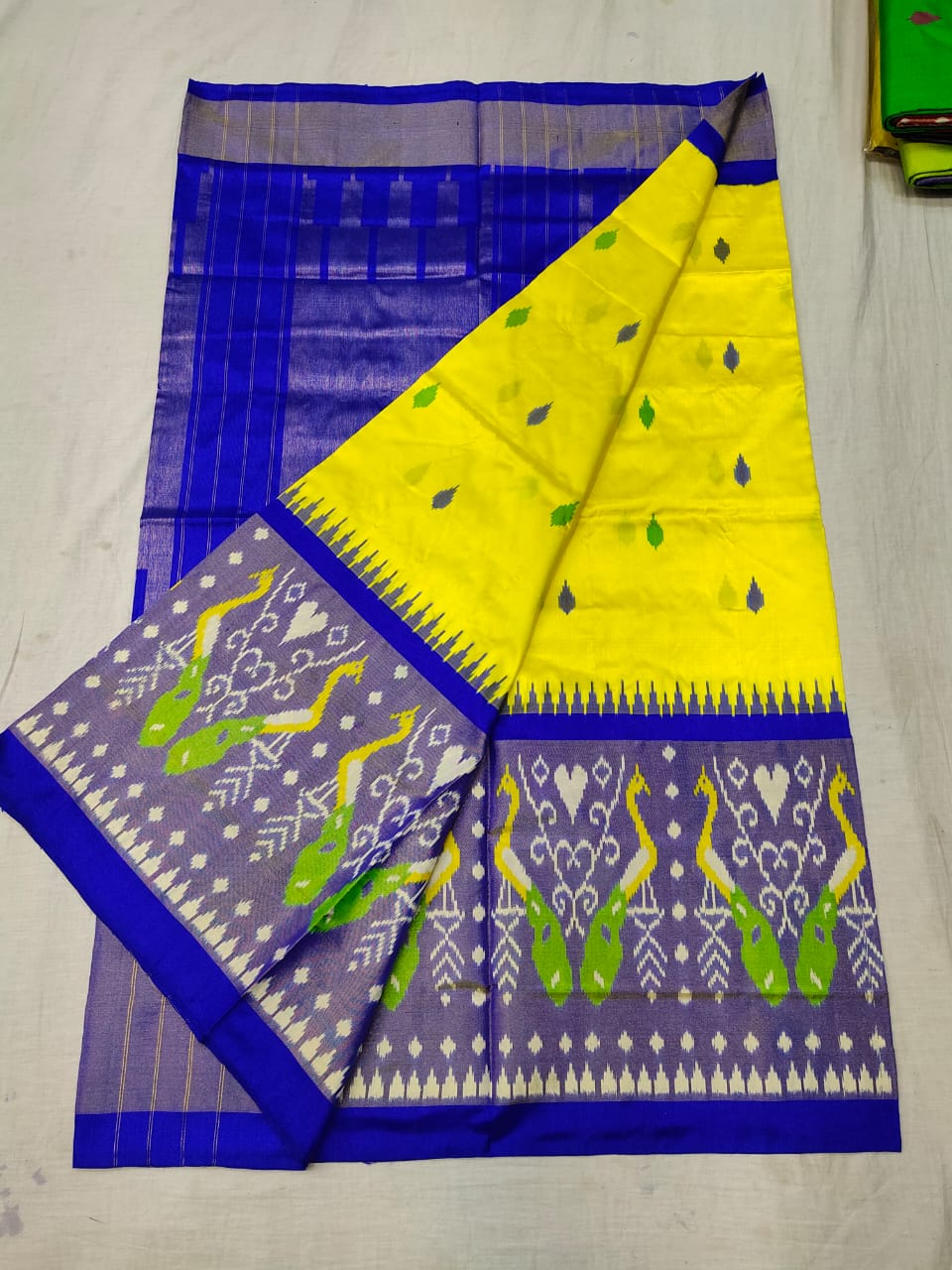 Pochampally yellow and blue ikkat silk sarees