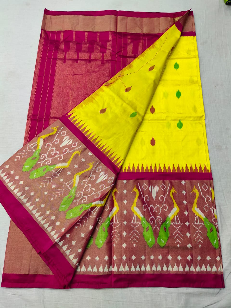 Pochampally yellow ikkat silk sarees