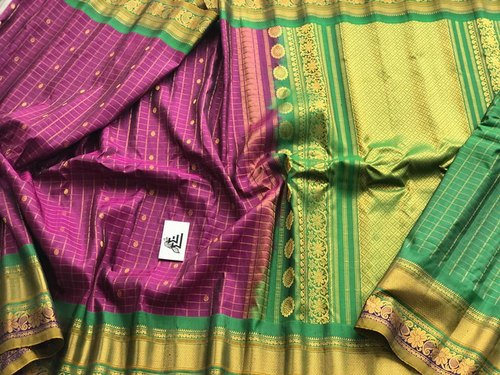Gadwal Pure Silk Handloom green and gold Saree