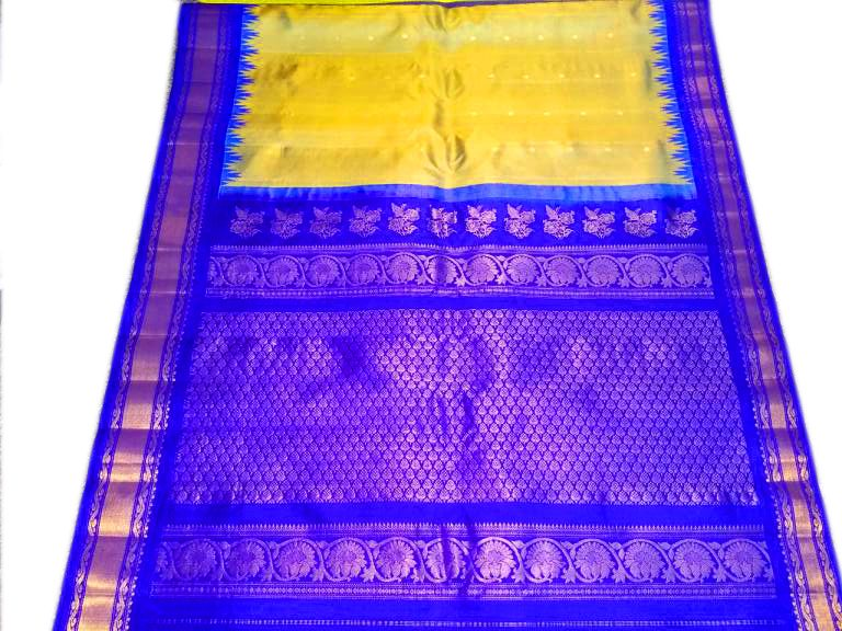 Gadwal Pure Silk Yellow & Blue Traditional Handloom Saree