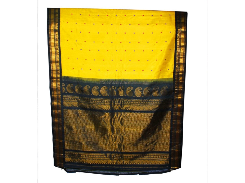 Gadwal Pure SIlk Yellow Saree With Silk Thread Butti's