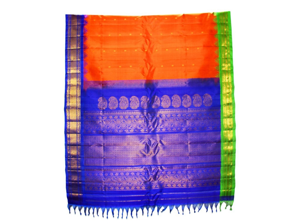 Orange & Dark Blue Traditional Handloom Gadwal Pure Silk Saree With Topic Border